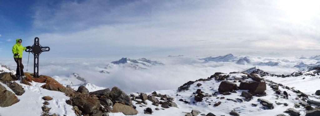 Blick zur Gran Paradiso Skitour, von Gressony aus
